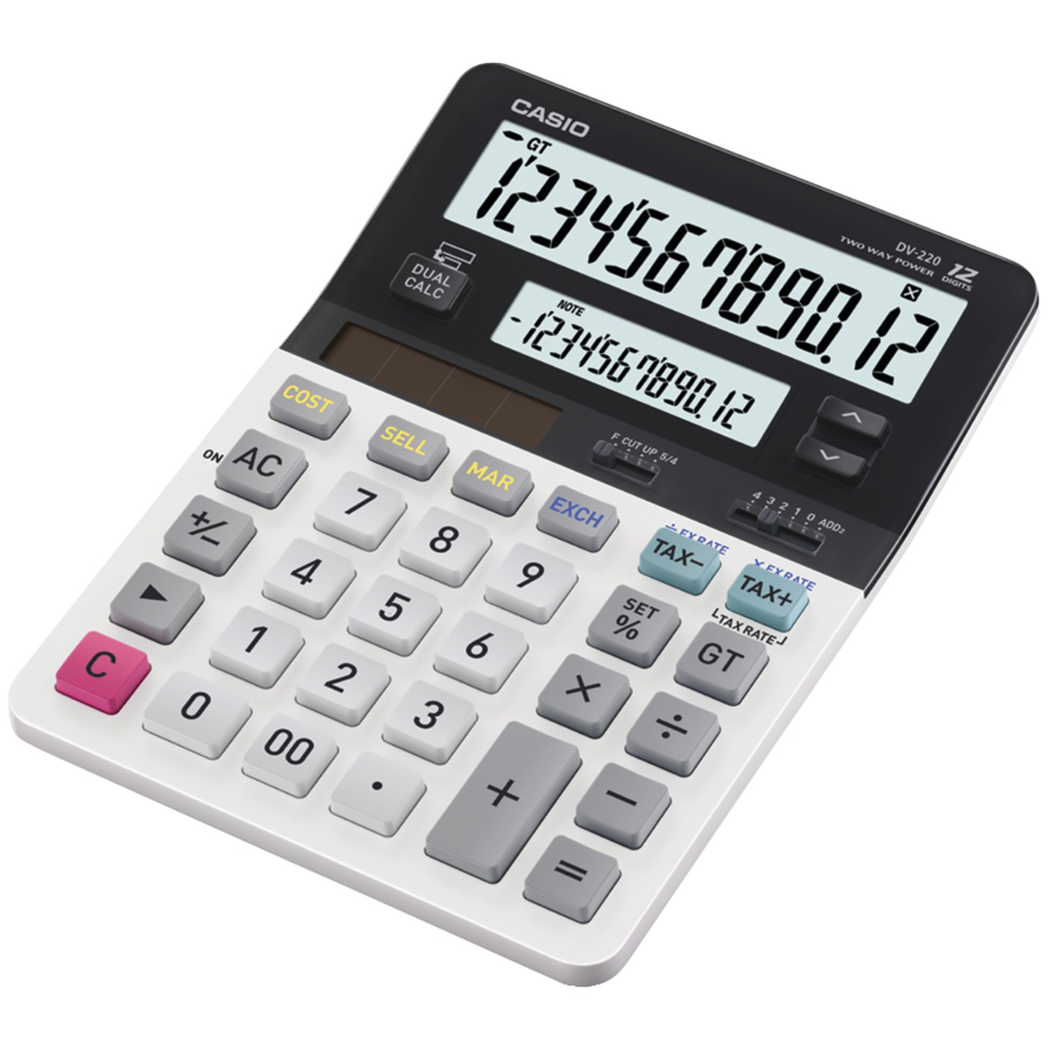 CASIO� DV-220 Dual Display Desktop Solar CALCULATOR
