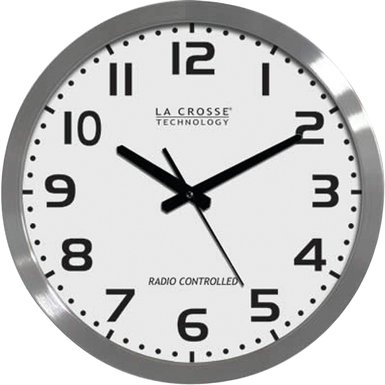 La Crosse Technology� WT-3161WH 16'''' Brushed-Metal Atomic Wall Clock
