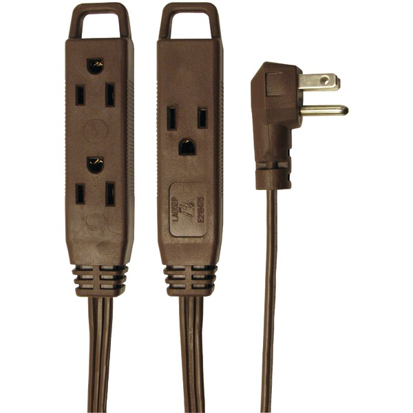 Axis(TM) 45504 3-Outlet Brown Wall-Hugger Indoor Grounded Extension Cord, 8ft