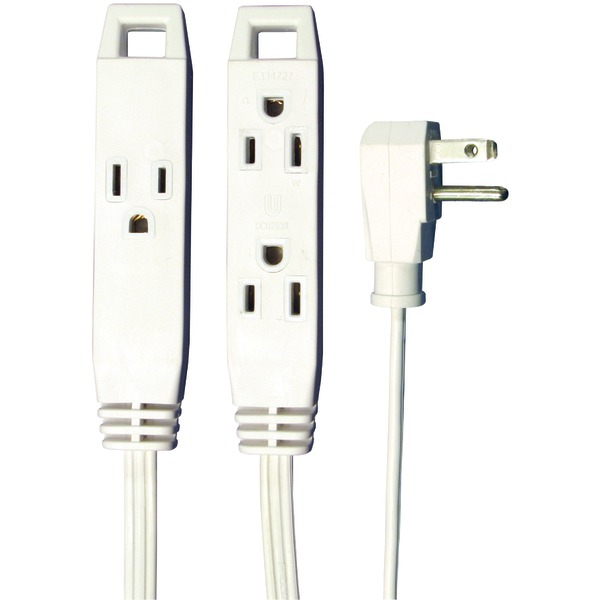 Axis(TM) 45505 3-Outlet White Wall-Hugger Indoor Grounded Extension Cord, 8ft