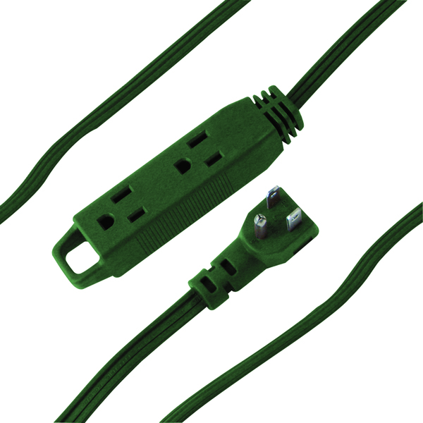 3-Outlet Indoor Extension Cord, 8ft (Green)