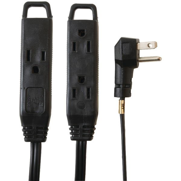 Axis(TM) 45515 3-Outlet Black Wall-Hugger Indoor Grounded Extension Cord, 8ft