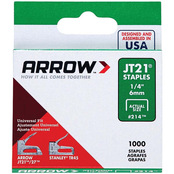 "Arrow(R) 21424 Thin Wire Staples, 1,000 pk (1/4"")"