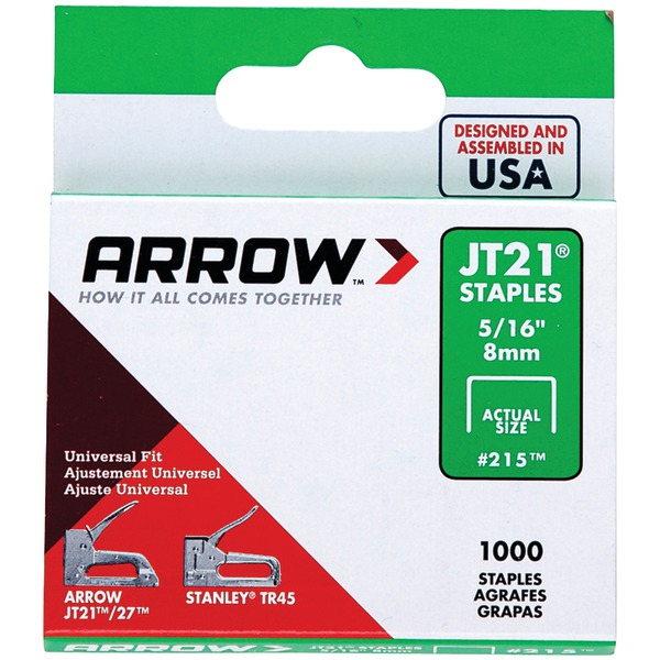 "Arrow(R) 21524 Thin Wire Staples, 1,000 pk (5/16"")"