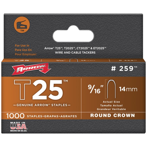 "Arrow(R) 259 T25 Round Crown Staples, 9/16""; 1,000 pk"