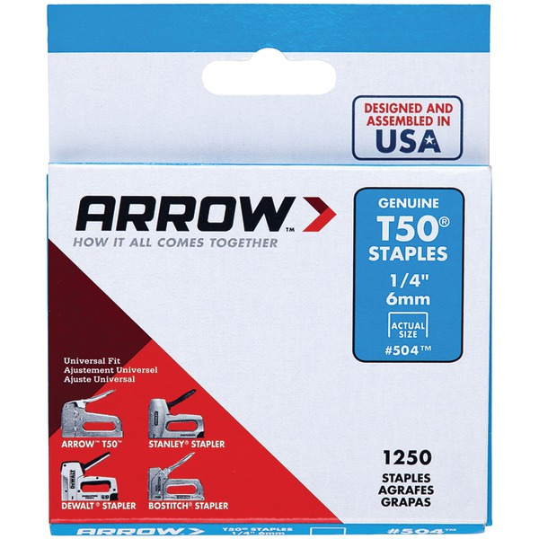 "Arrow(R) 50424 T50(R) Staples, 1,250 pk (1/4"")"