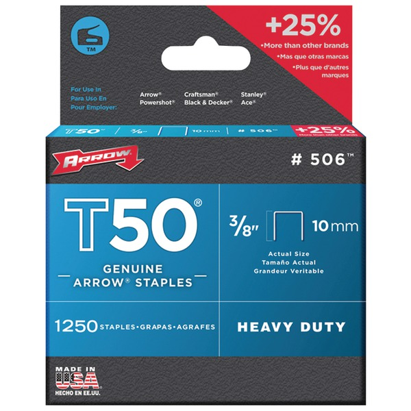 "Arrow(R) 50624 T50(R) Staples, 1,250 pk (3/8"")"