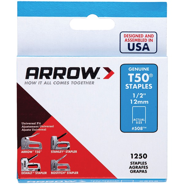 "Arrow(R) 50824 T50(R) Staples, 1,250 pk (1/2"")"
