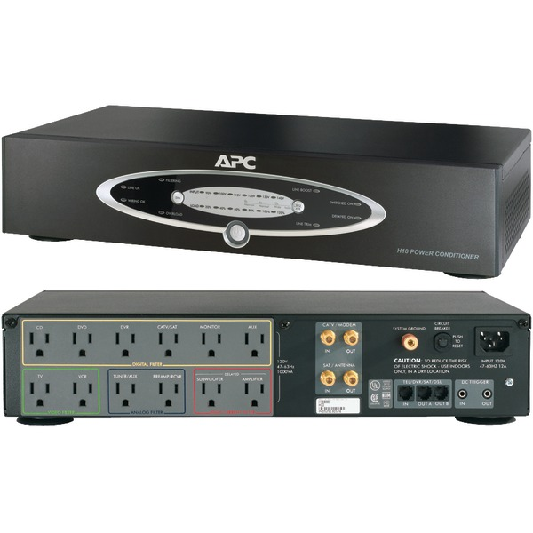 APC(R) H10BLK 12-Outlet H-Type Rack-Mountable Power Conditioner with Coaxial Protection
