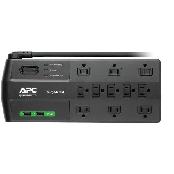 APC(R) P11U2 11-Outlet SurgeArrest(R) Surge Protector with 2 USB Charging Ports