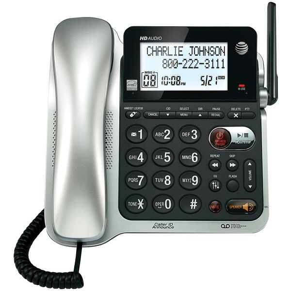 AT&T(R) CL84102 Corded/Cordless Phone System with Answer, Caller ID/Call Waiting