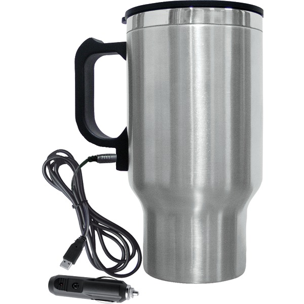 Brentwood(R) Appliances CMB-16C 16-Ounce Stainless Steel Heated Travel Mug with 12-Volt Car Adapter