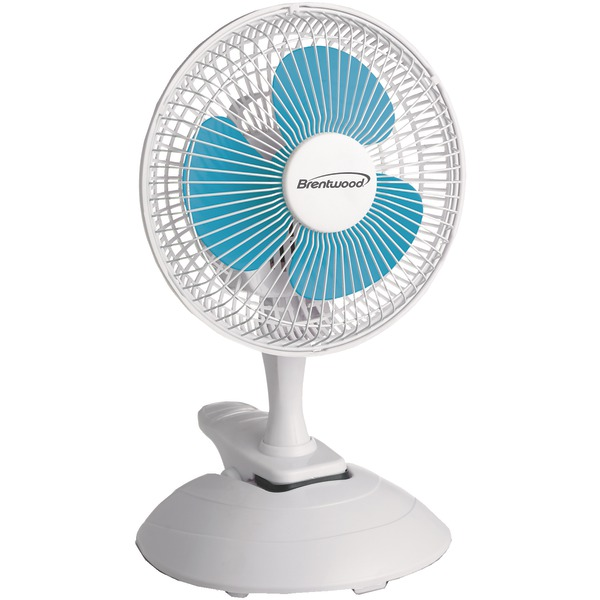 "Brentwood Kool Zone F-621W 6"" Convertible Clip Desk Fan"