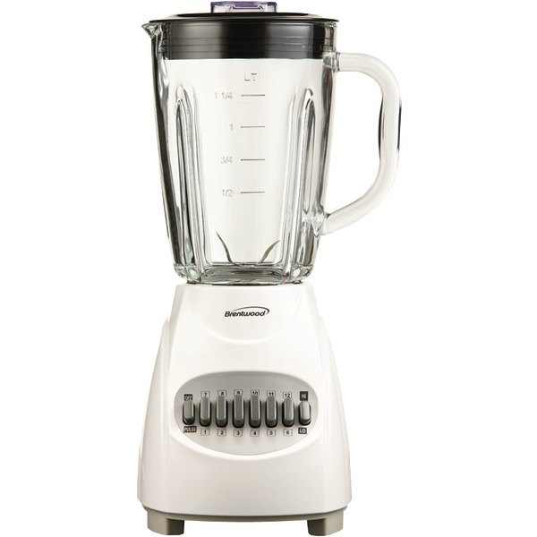 Brentwood(R) Appliances JB-920W 42-Ounce 12-Speed + Pulse Electric Blender with Glass Jar (White)