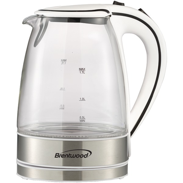 Brentwood(R) Appliances KT-1900W 1.7-Liter Cordless Tempered-Glass Electric Kettle (Black)