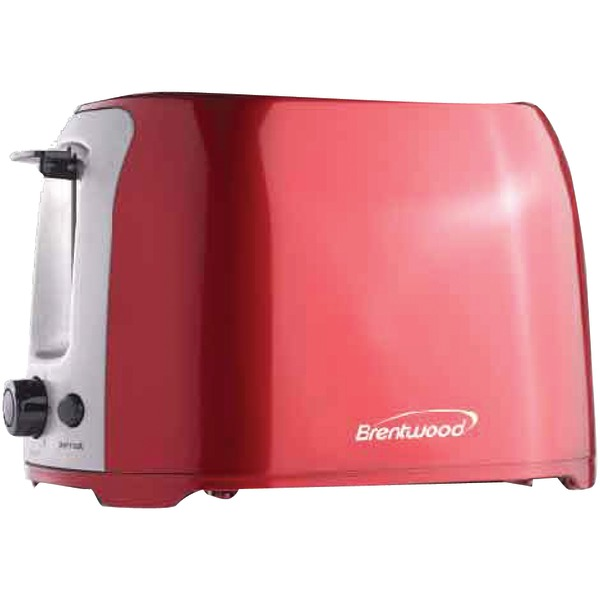 Brentwood(R) Appliances TS-292R 2-Slice Cool-Touch Toaster with Extra-Wide Slots (Red & Stainless Steel)