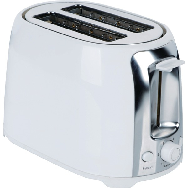 Brentwood(R) Appliances TS-292W 2-Slice Cool-Touch Toaster with Extra-Wide Slots (White & Stainless Steel)