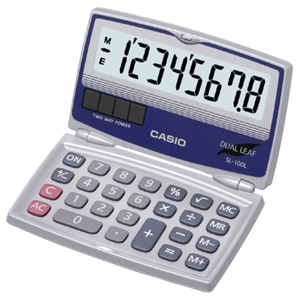 CASIO(R) SL-100L Solar Calculator with Folding Hard Case