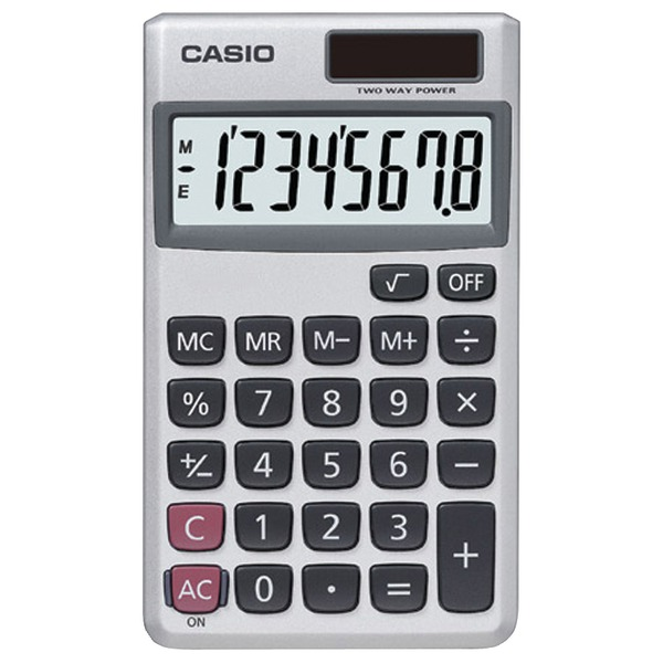 CASIO(R) SL300VE/SL300SV Wallet Solar Calculator with 8-Digit Display