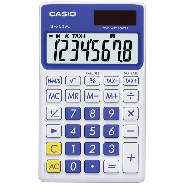 CASIO(R) SL300VCBESIH Solar Wallet Calculator with 8-Digit Display (Blue)