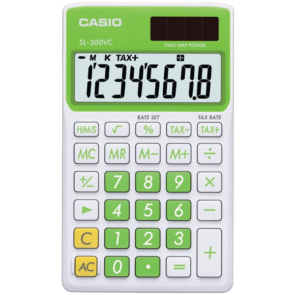 CASIO(R) SL300VCGNSIH Solar Wallet Calculator with 8-Digit Display (Green)