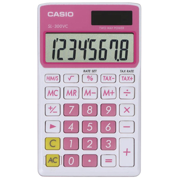 CASIO(R) SL300VCPKSIH Solar Wallet Calculator with 8-Digit Display (Pink)