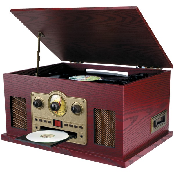 SYLVANIA(R) SRCD838 Nostalgia 5-in-1 Turntable/CD/Radio/Cassette Player with Auxiliary Input