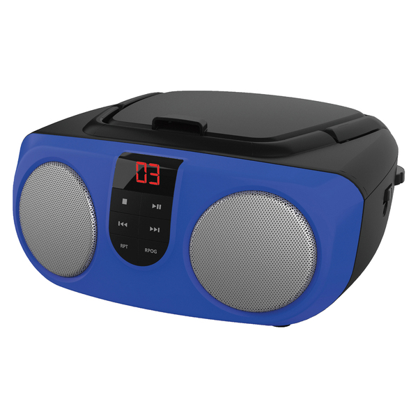 SYLVANIA(R) SRCD243M BLUE Portable CD Boom Box with AM/FM Radio (Blue)