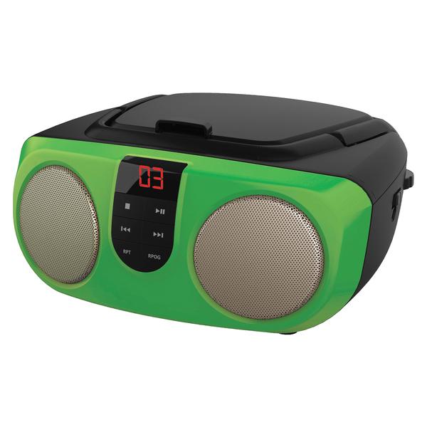 SYLVANIA(R) SRCD243M GREEN Portable CD Boom Box with AM/FM Radio (Green)