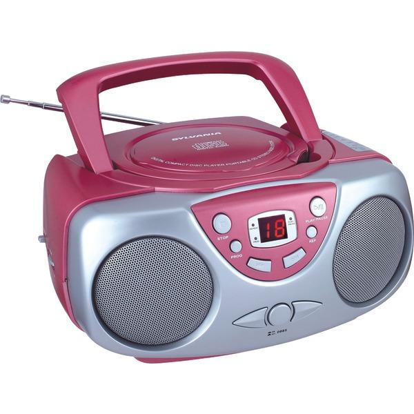 SYLVANIA(R) SRCD243M PINK Portable CD Boom Box with AM/FM Radio (Pink)