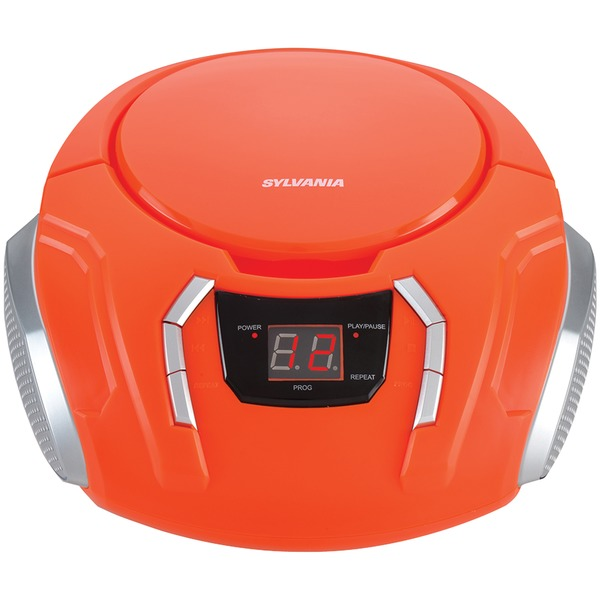 SYLVANIA(R) SRCD261-B-ORANGE Portable CD Player with AM/FM Radio (Orange)