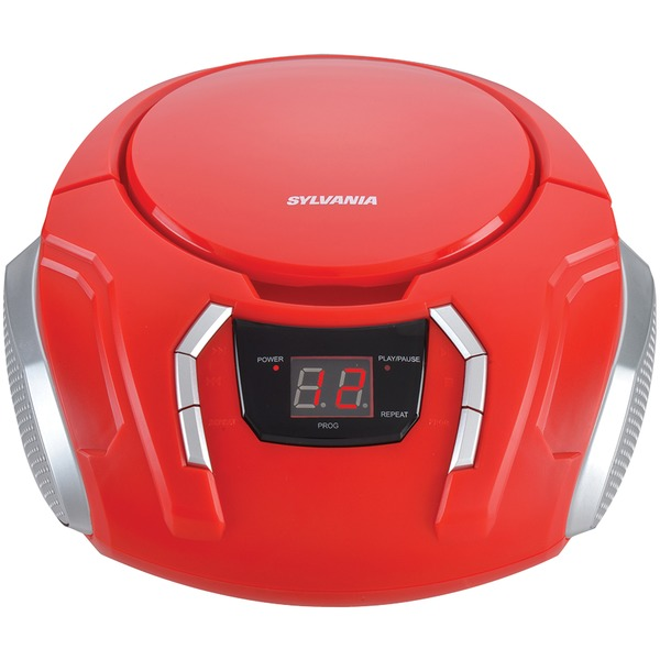 SYLVANIA(R) SRCD261-B-RED Portable CD Player with AM/FM Radio (Red)