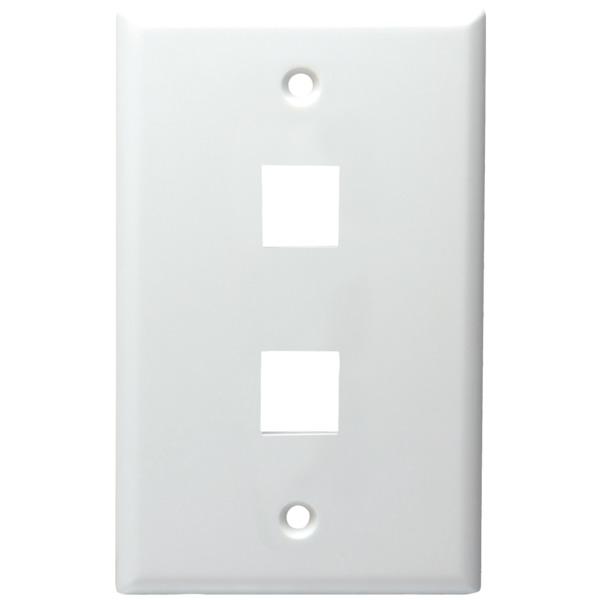 DataComm ELECTRONICS 20-3002-WH 2-Port Standard Size Keystone Wall Plate (White)