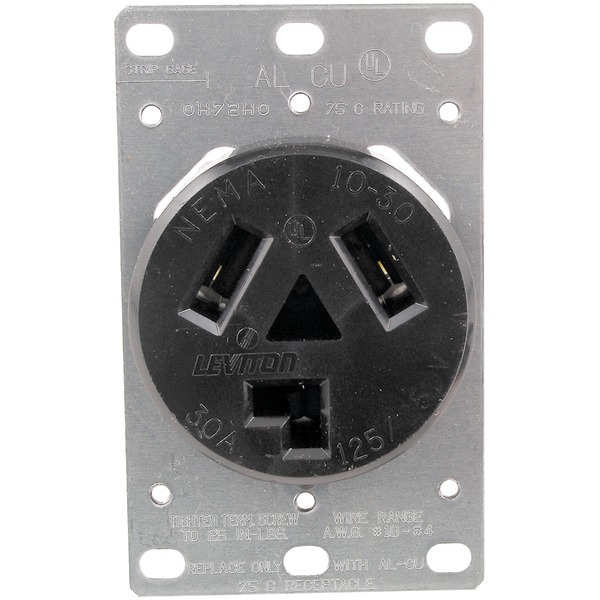 No Logo 5207 Single-Flush Dryer Receptacle (3 wire)