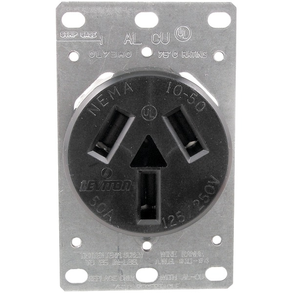 No Logo 5206 Single-Flush Range Receptacle (3 wire)