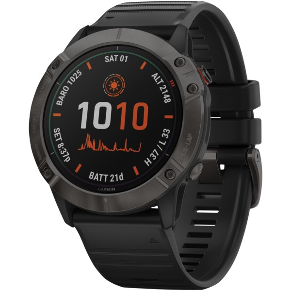 Garmin?010-02157-20 fenix?6X Pro Solar Multisport GPS WATCH (Titanium Carbon Gray DLC with Black B