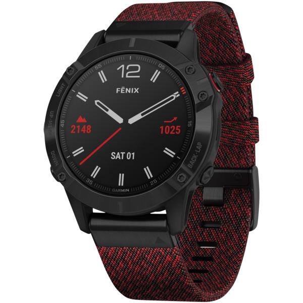 Garmin?010-02158-16 fenix?6 Sapphire Multisport GPS WATCH (Black DLC with Heathered Red Nylon Band