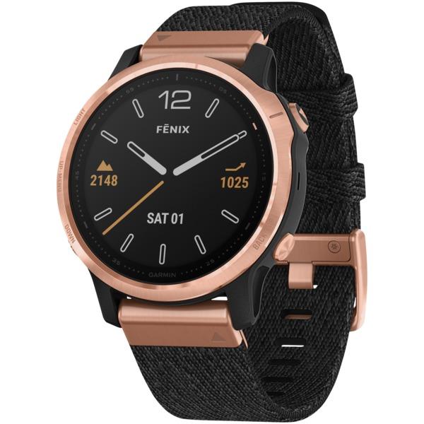 Garmin® 010-02159-36 fenix® 6S Sapphire Multisport GPS WATCH (Rose Gold-Tone with Heathered Black Ny