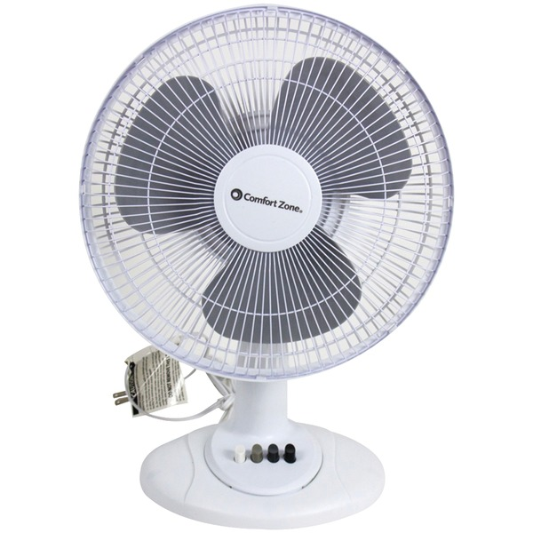 "Comfort Zone(R) CZ121BW 12"" Oscillating Table Fan"