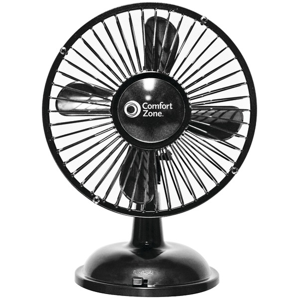 Comfort Zone(R) CZ5USBBK Battery/USB Oscillating Desk Fan