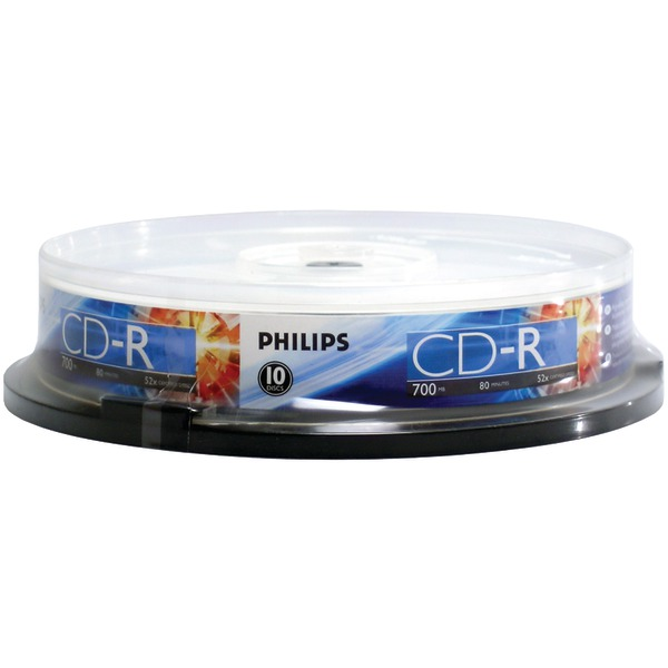 Philips(R) CR7D5NP10/17 700MB 80-Minute 52x CD-Rs (10-ct Cake Box Spindle)