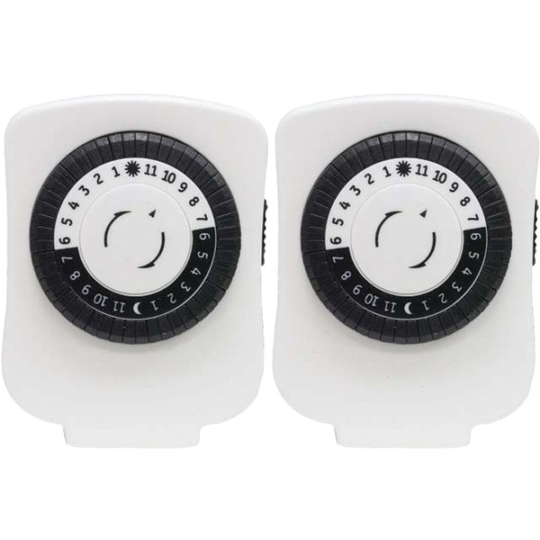 GE(R) 15417 24-Hour Polarized Plug-in Mechanical Timer with 48 On/off & 1 Outlet, 2 pk