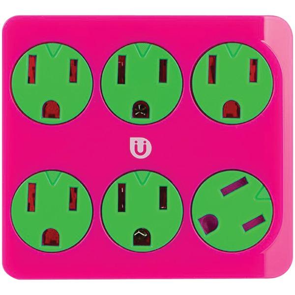 Uber(TM) 25110 6-Outlet Power Tap (Pink & Green)
