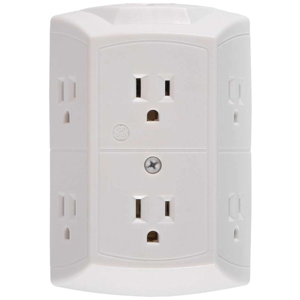 GE(R) 56575 6-Outlet Grounded Wall Tap with Transformer/Resettable Circuit