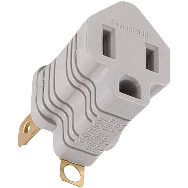 GE(R) 58900 Polarized Grounding Adapter Plug (Gray)