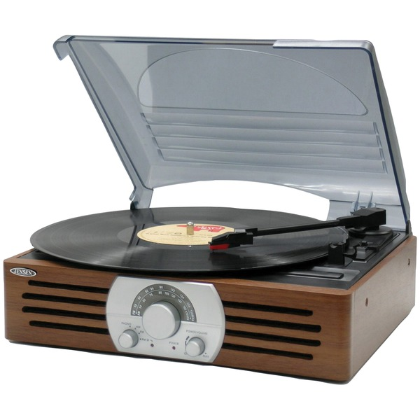 JENSEN(R) JTA-222 3-Speed Stereo Turntable with AM/FM Stereo Radio