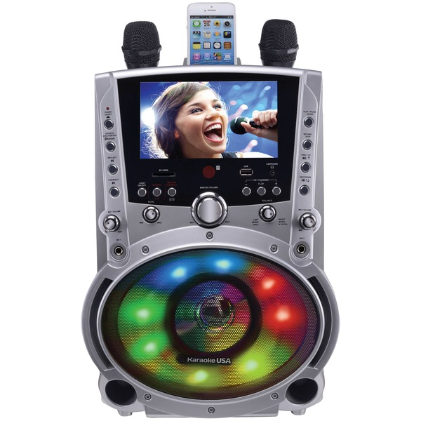 "Karaoke USA(TM) GF758 DVD/CD+G/MP3+G Bluetooth(R) Karaoke System with 7"" TFT Color Screen & LED Sync Lights"