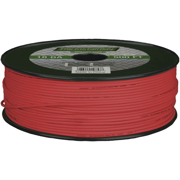 Install Bay(R) PWRD18500 18-Gauge Primary Wire, 500ft (Red)