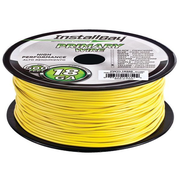 Install Bay(R) PWYL18500 18-Gauge Primary Wire, 500ft (Yellow)