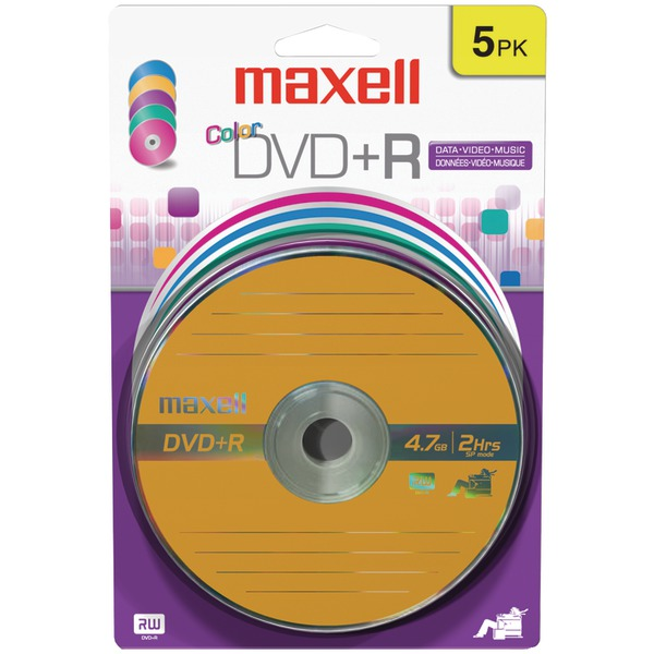 Maxell(R) 639031 4.7GB 120-Minute DVD+Rs (5 pk, Color, Carded)